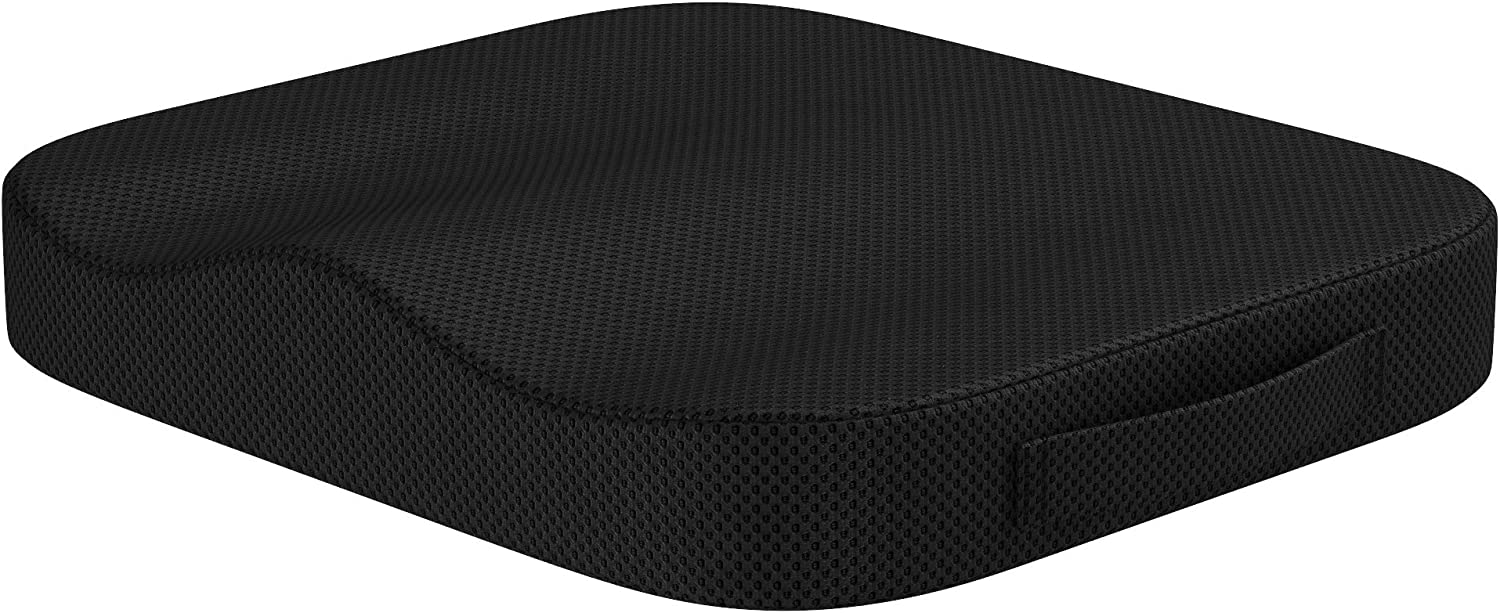 bonmedico Comfort Cushion, Orthopedic Memory Foam Seat Cushion for Coccyx/Tailbone & Sciatica Pain Relief, Seat Pillow Great As an Office Chair Cushion, Car Seat Cushion Or Wheelchair Cushion, Black