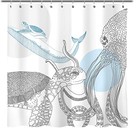 8x12 FT Octopus Vinyl Photography Backdrop,Octopus Character with Curling Tentacles Swimming Underwater Illustration Wildlife Background for Baby Shower Bridal Wedding Studio Photography Pictures