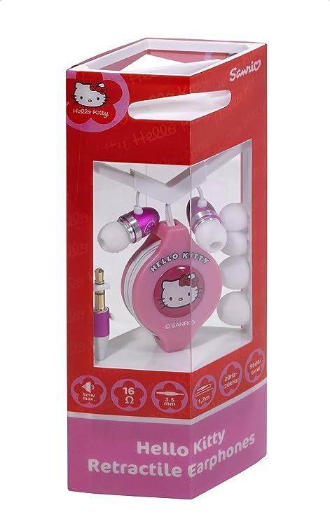 Hello Kitty - Auriculares con cable retráctil (tres tamaños de almohadillas diferentes)