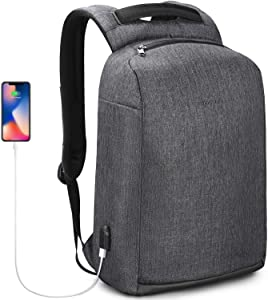 KUPRINE TSA Friendly Anti-theft Business Travel Laptop Backpack with USB Charging Port for Men and Women Water Resistant Computer Backpack College Students Backpacks Fit 15.6 Inch Laptop Tablet Black
