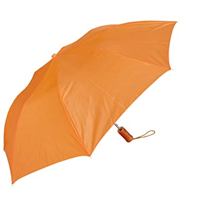 outlet RainStoppers W001 Auto Open Collapsible Arc Umbrella with Wood Handle, Orange, 42""