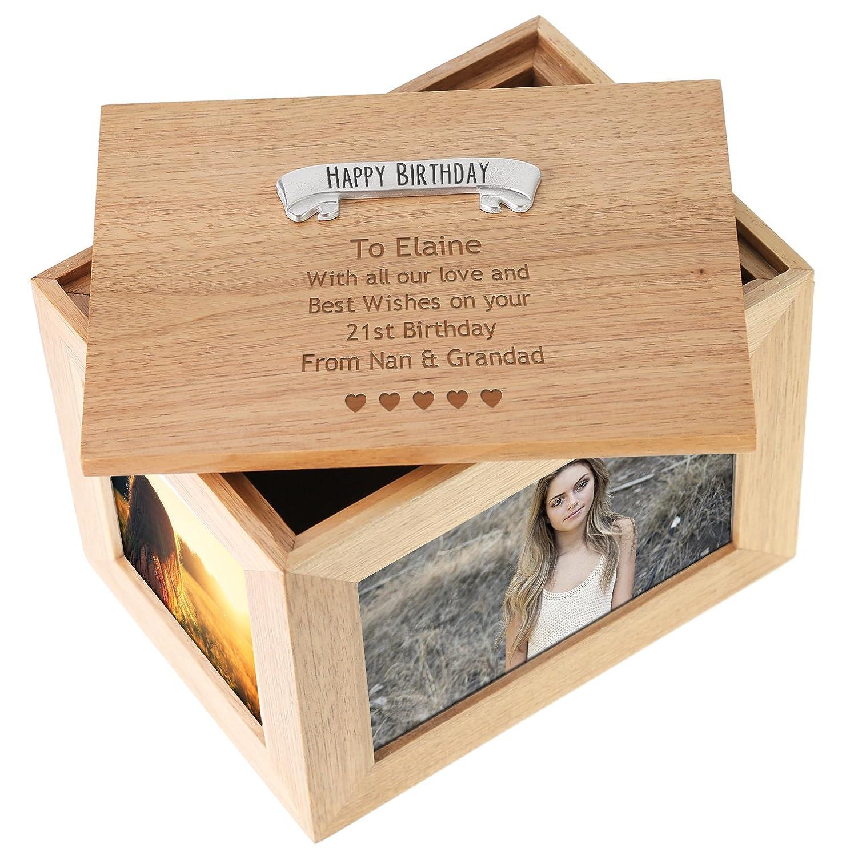 Personalised Wooden Engraved Cube Keepsake Newborn baby gift