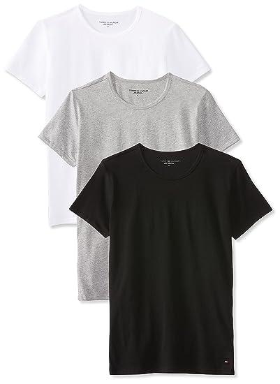 8a5a90f14284fb Tommy Hilfiger Men's Crew-Neck T-Shirt ss 3 Pack Premium Essentials,  Multicolore