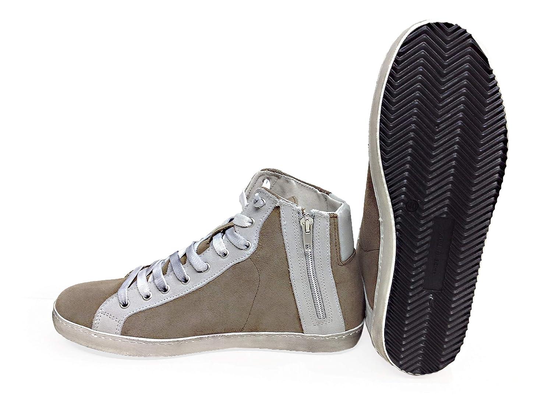 VIA CONDOTTI Scarpe Sneakers Alte Uomo Taupe Stella Ghiaccio Made in Italy New c