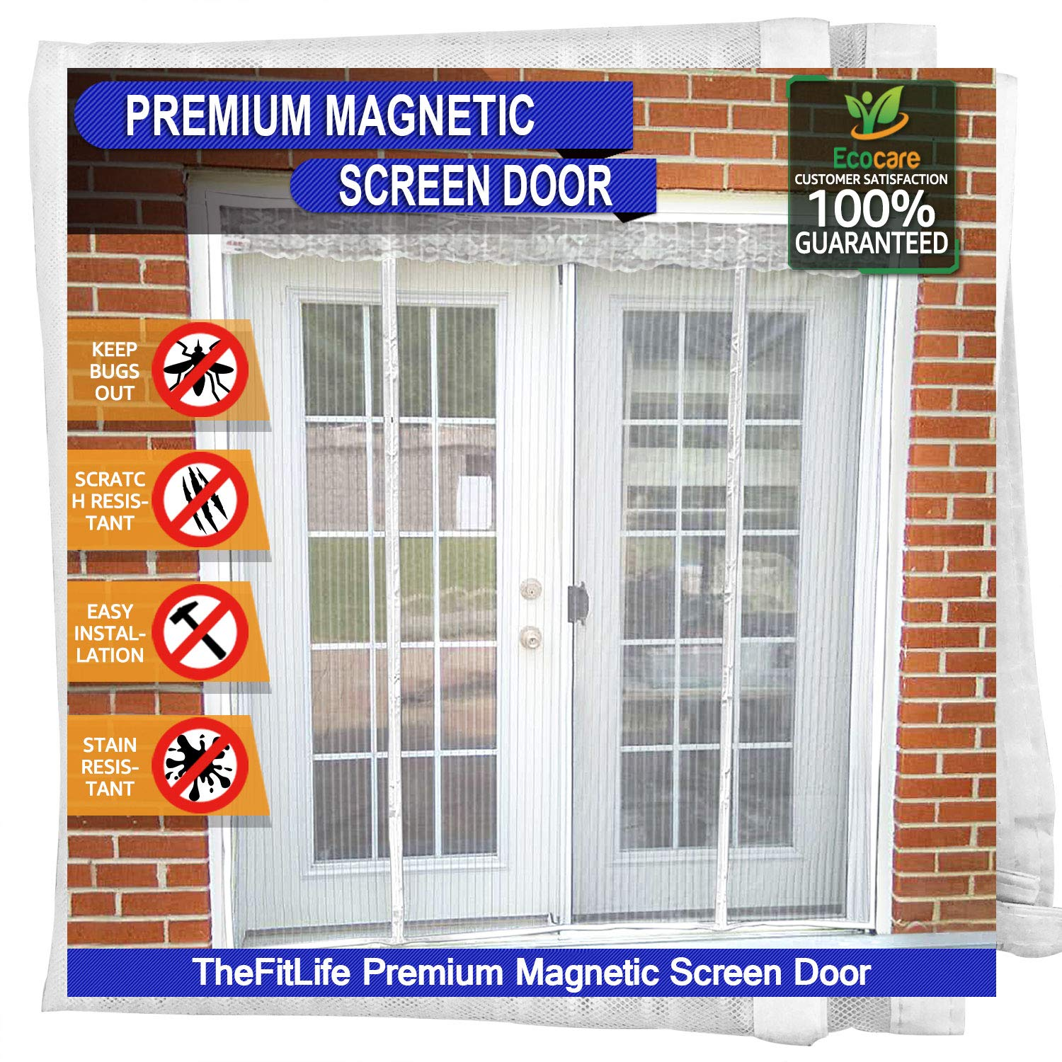 Sliding Fits Doors up to 182x203cm Max Double Door Magnetic Fly Screen Large Door Mesh Curtain with Full Frame Hook and Loop Snap Shut Automatically for Patio Powerful Magnets