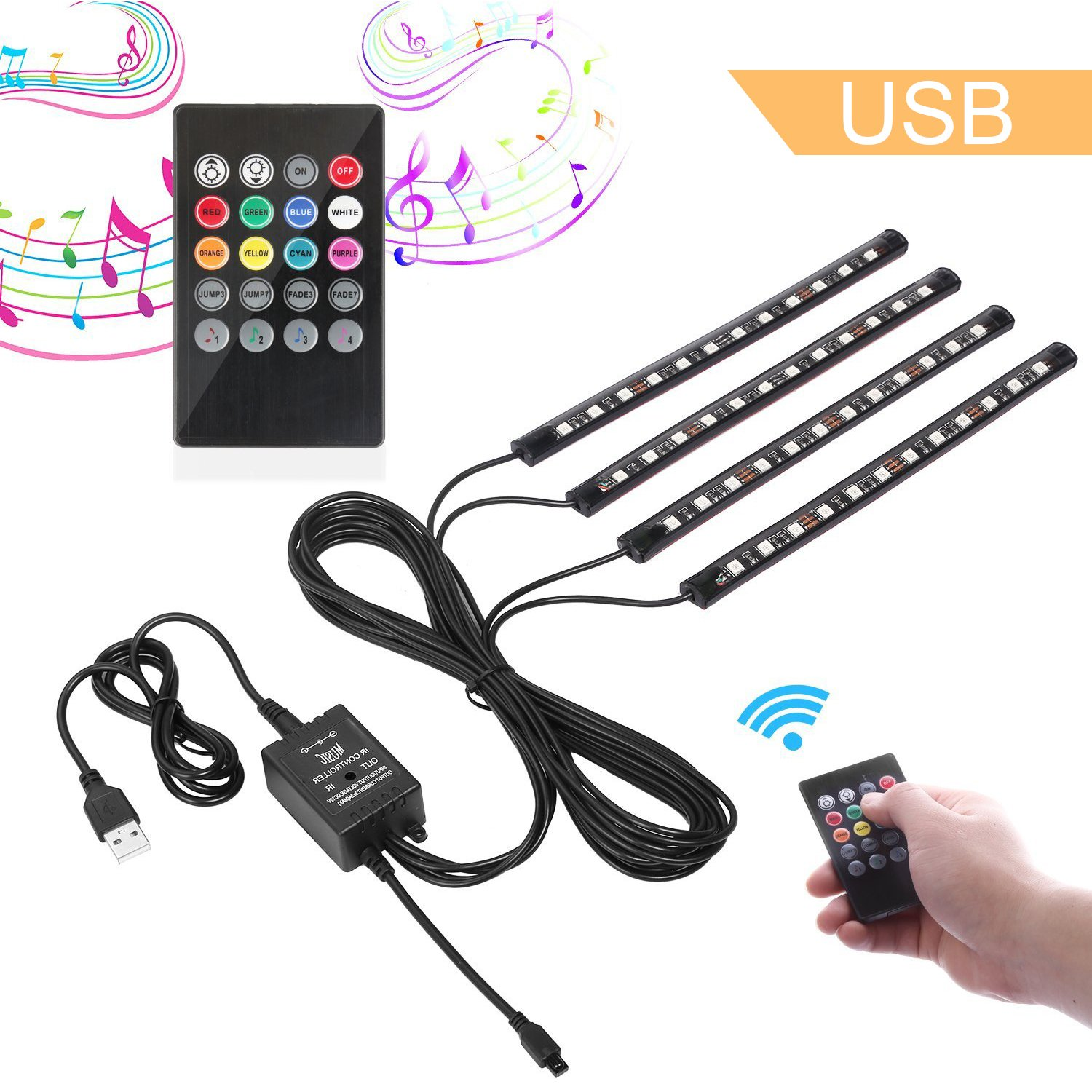 Car LED Strip Lights, Guaiboshi 4PCS 48leds USB Powered Atmosphere Lights/Interior Lights for Car with Music Sound Active, Remote Included