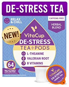 VitaCup® DeStress Herbal Tea Pods 64ct w/ Chamomile, L-Theanine & Lavender for Anxiety Relief, Relax & Chill in Recyclable Single Serve Pod Compatible with K-Cup Brewers Including Keurig 2.0
