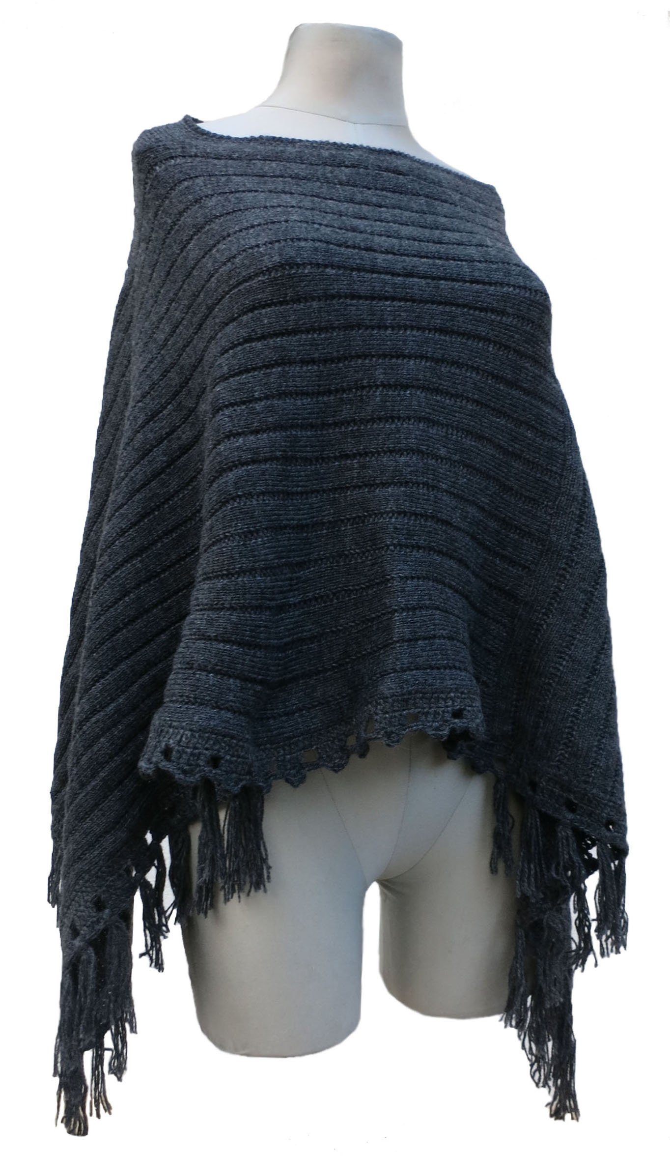 READY TO SHIP - Handmade Alpaca and Wool Classic Poncho (LARGE)(CHARCOAL)
