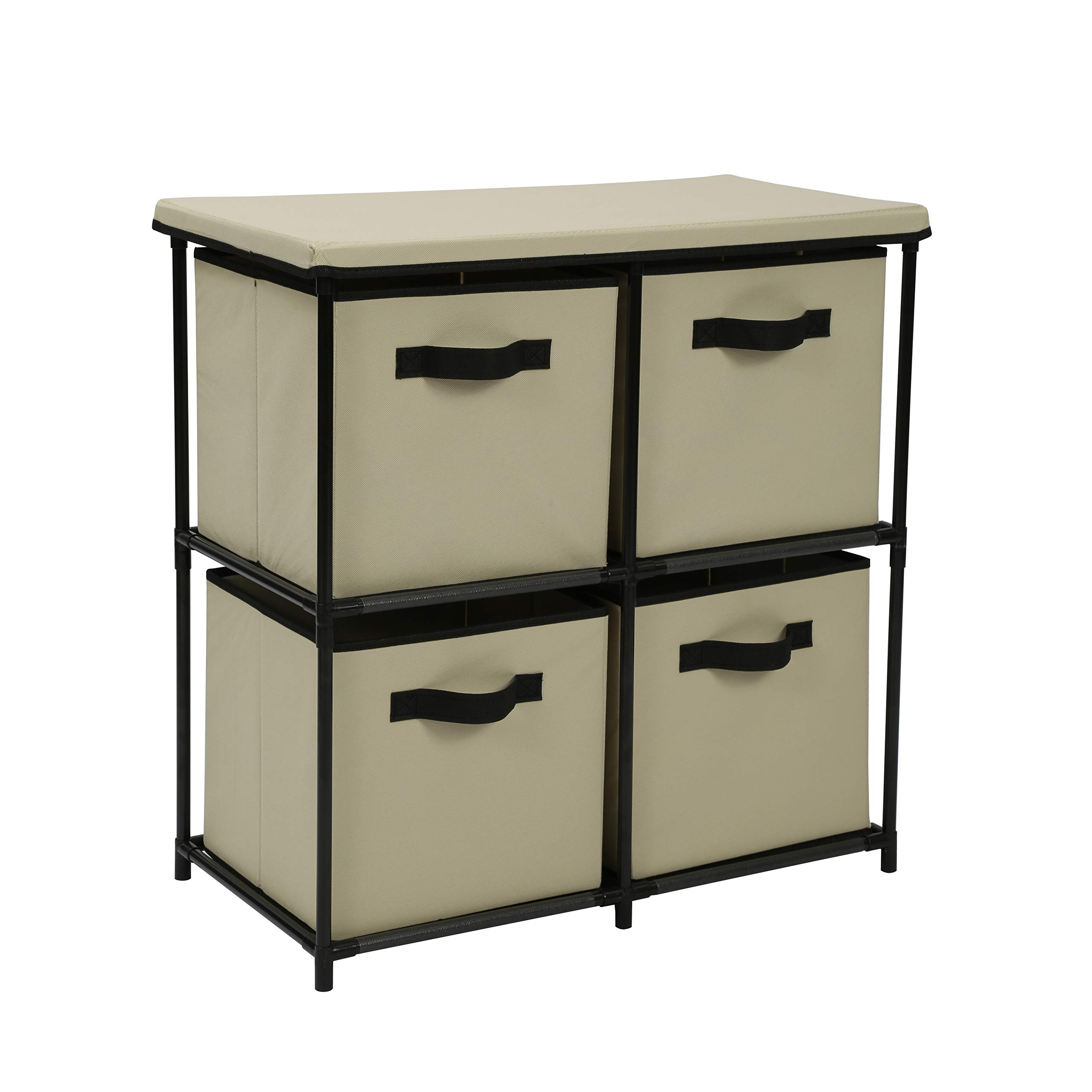 Homebi Drawers Storage Shelf Chest Unit Storage Cabinet Closet Organizer Rack Dresser Storage Towel with Non-Woven Fabric Bins (Beige 4-Drawer) by HOME BI