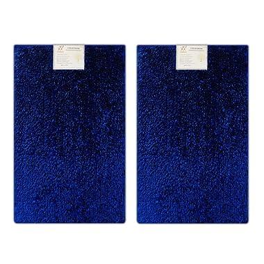 Verxii Home Luxury Bath Mat Rug Set For Bathroom   Memory Foam No-Slip Extra Soft Contour Multiple Choice (2-PCS Combo E, Bright Blue)