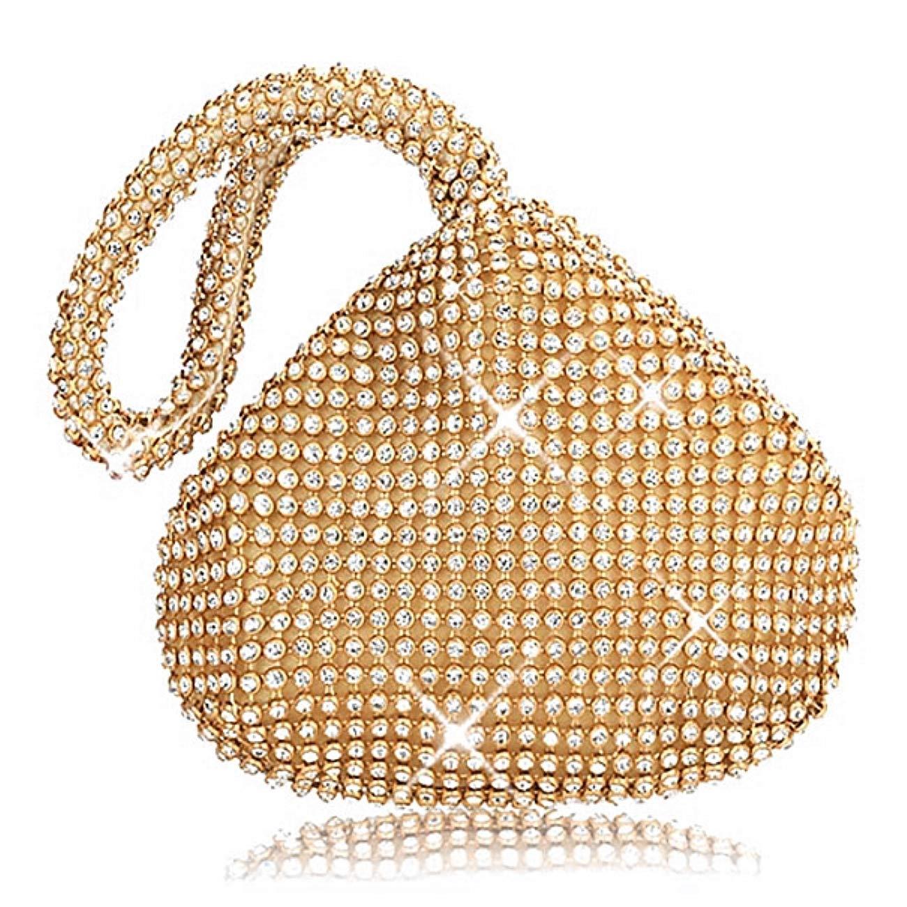 Mondeer Evening Purse Bag Clutch Handbag Sparkly Mini Glitter Crystal Diamante Pouch Shaped Wrist Hand Bag Purse Bag Party Bridal Prom Fashion For Women Ladies Girls
