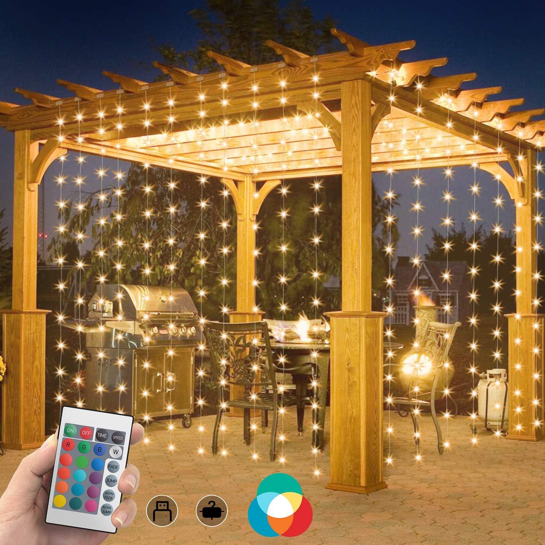 SYTUAM Cortina de Luces Navidad RGBW 3M * 3M USB Material PVC + Nylon, Cortina Luces Led Exterior impermeables suaves 4 modos Control remoto de ...