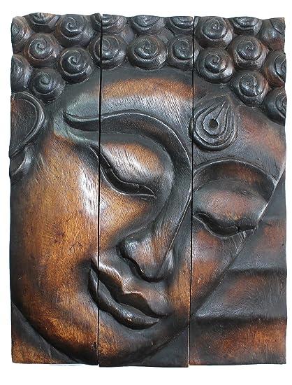 Hand Carved Wooden Thai Buddha Face Wall Art Hanging Buddha Panels Teak Wood Dark Brown