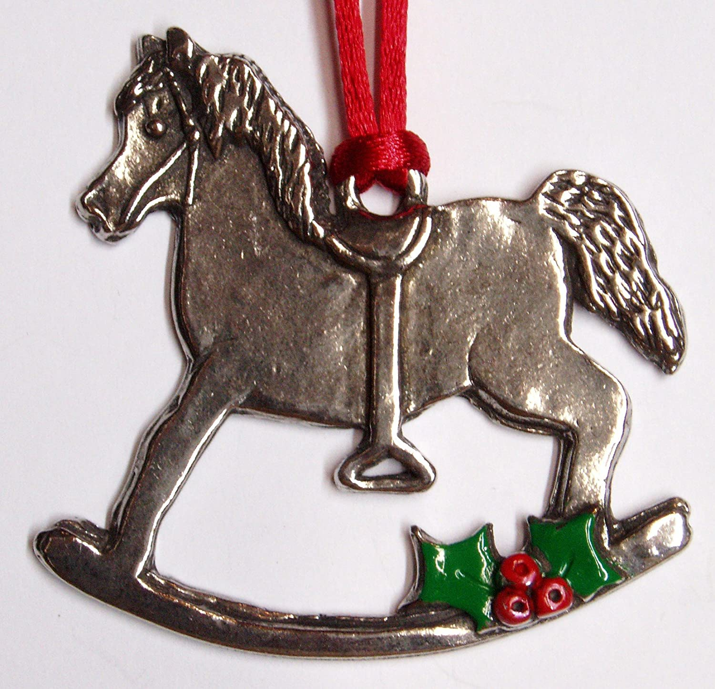 Amazon.de: Zinn Schaukelpferd Weihnachten Ornament feine Zinn Made ...