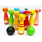 Toys of Wood Oxford Wooden Skittle Set Animal Faces 12 Pieces Large size- wooden skittles for children