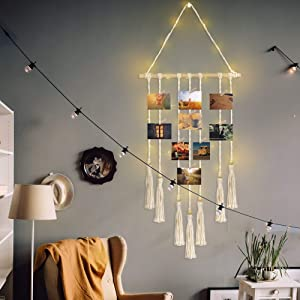 BlueMake Hanging Photo Displays wiht String Lights, Macrame Wall Hanging Photo Holder Boho Home Decor with 28 Wood Clips (Ivory with String Lights)