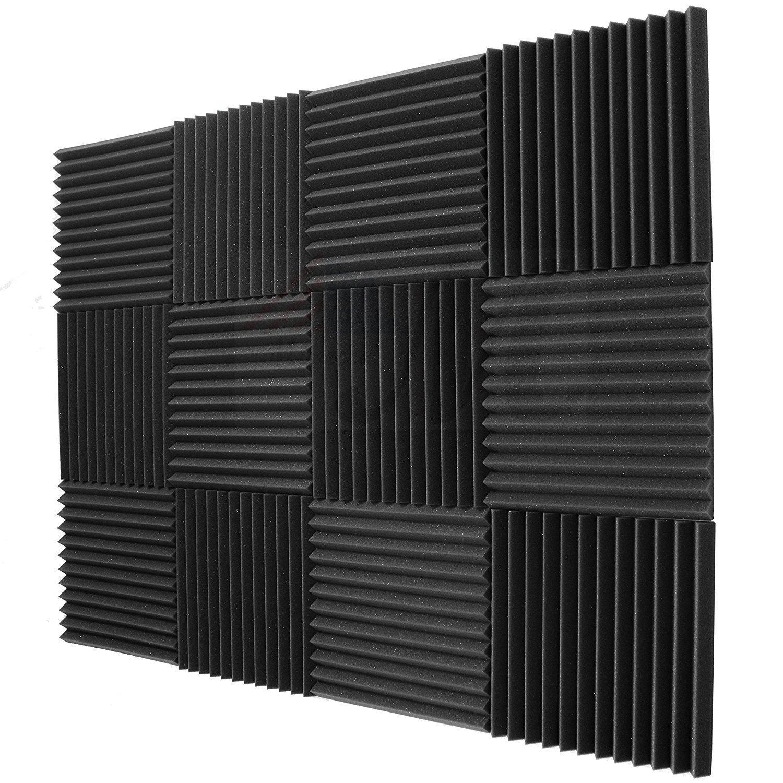 Mybecca 12 pack Acoustic Panels Studio Foam Wedges Soundproofing 1'' X 12'' X 12'' (12 Square Feet), Charcoal by Mybecca
