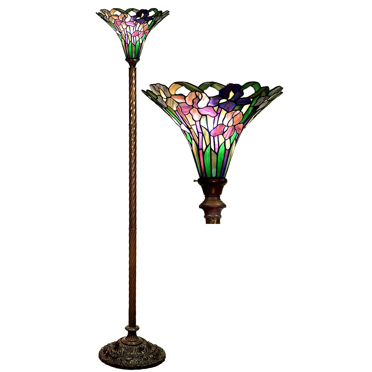 Tiffany-style Iris Torchiere - stained glass lamps