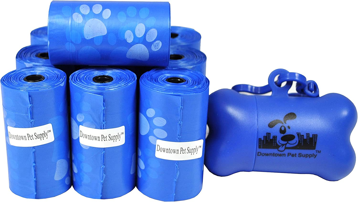 220 Pet Waste Bags, Dog Waste Bags, Bulk Poop Bags with Leash Clip and Bone Bag Dispenser - (220 Bags, Blue with Paw Prints)