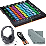 Novation Launchpad Pro MIDI controller and Grid Instrument Bundle with Samson Stereo Headphones + Cable + Fibertique Cleaning Cloth