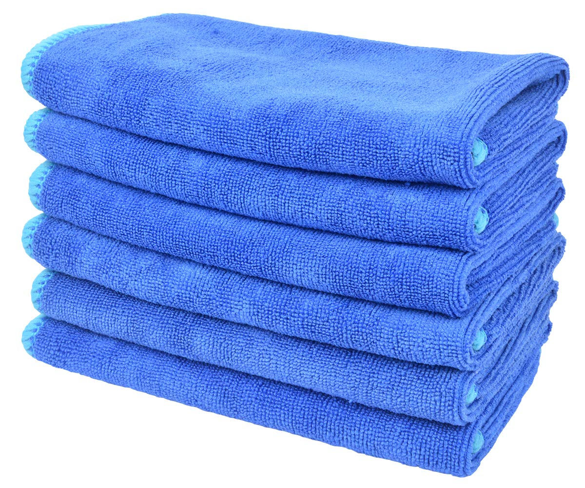 SINLAND All-purpose Microfiber Cleaning Cloths Wiping Highly Absorbent & Lint Free Dusting Rags for Home and Kitchen 12Inchx12Inch Blue 6 Pack