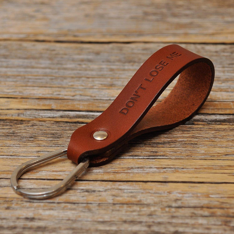 Llavero de cuero, anilla personalizada, llavero con monograma, llavero leontina soporte con grabado personalizado, regalo masculino, Latitud Longitud ...
