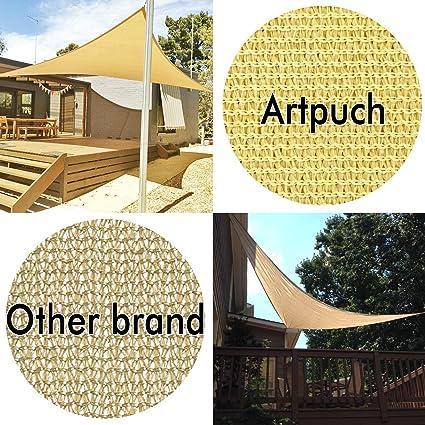 Belle Dura 12 x 12 x 12 Derecho triángulo Techo Solar UV Bloque para Refugio toldo Patio jardín al Aire Libre instalación Arena y aactivities: Amazon.es: Jardín