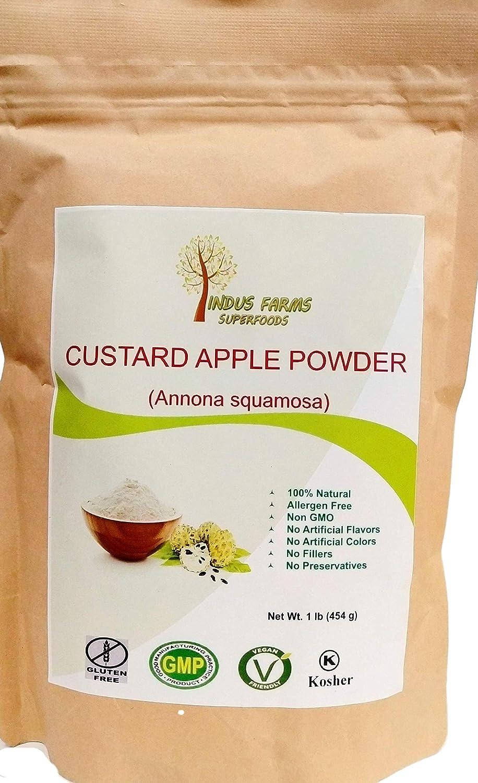 100% Natural Custard-Apple Powder, 1 LB, Eco-friendly Resealable pouch, No Artificial Flavors/Preservatives/Fillers, Halal, Kosher, Vegan-Friendly, Non-GMO