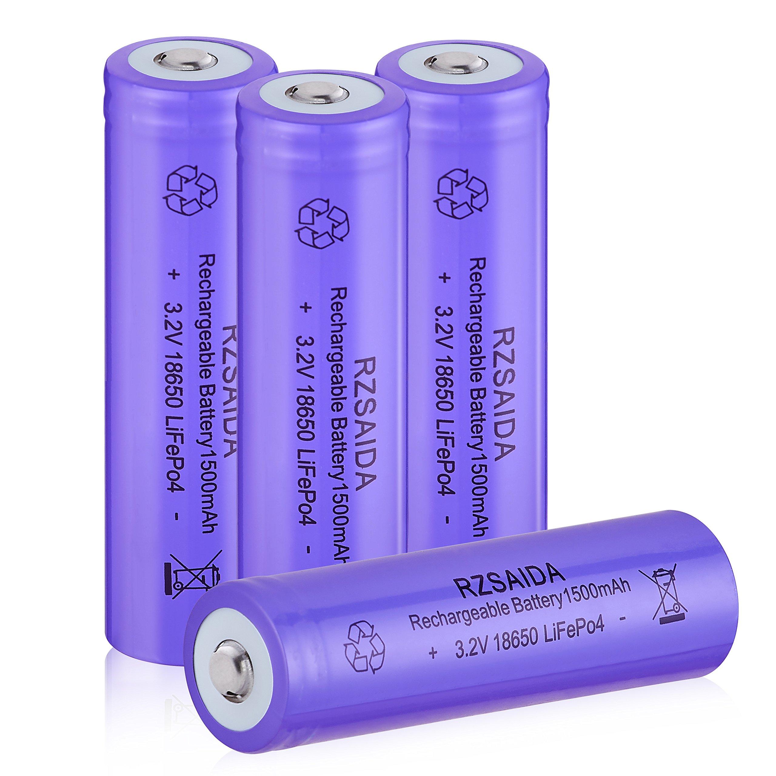Rechargeable Battery Button Top LiFePO4-RZSAIDA 3.2V 6000mAh IFR18650 Battery for Garden Lamps Solar Lights 4PCS 1500mAh