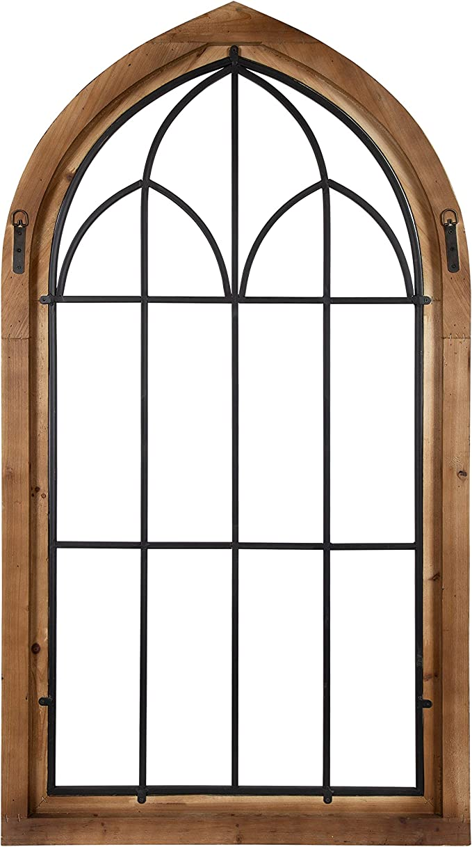 Amazon Com Kate And Laurel Rennell Wood And Metal Rustic Window Pane Arch Wall Decor Furniture Decor