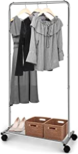 Simple Trending Standard Clothes Garment Rack, Clothing Rolling Rack with Mesh Storage Shelf on Wheels, Chrome