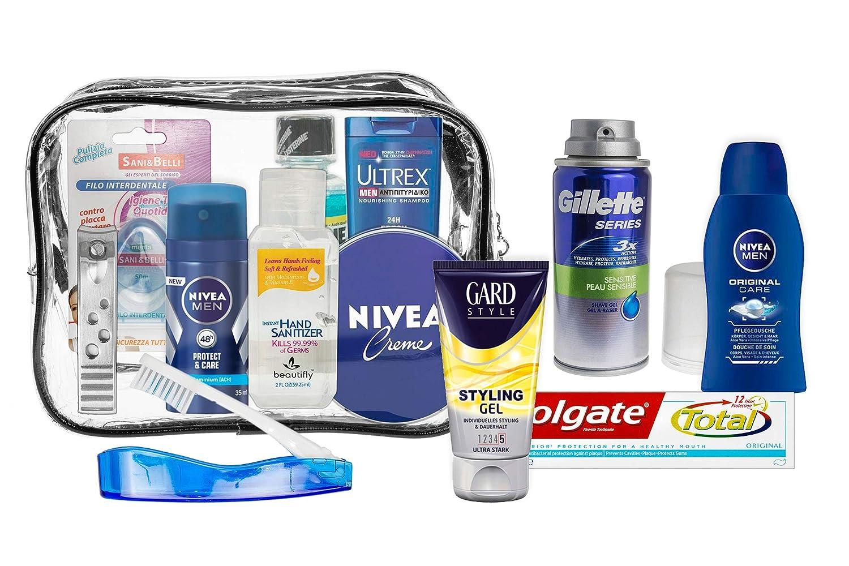 Set de viaje de 13 piezas para hombre productos de marca para el cuidado personal Cabina aprobada esenciales de viaje