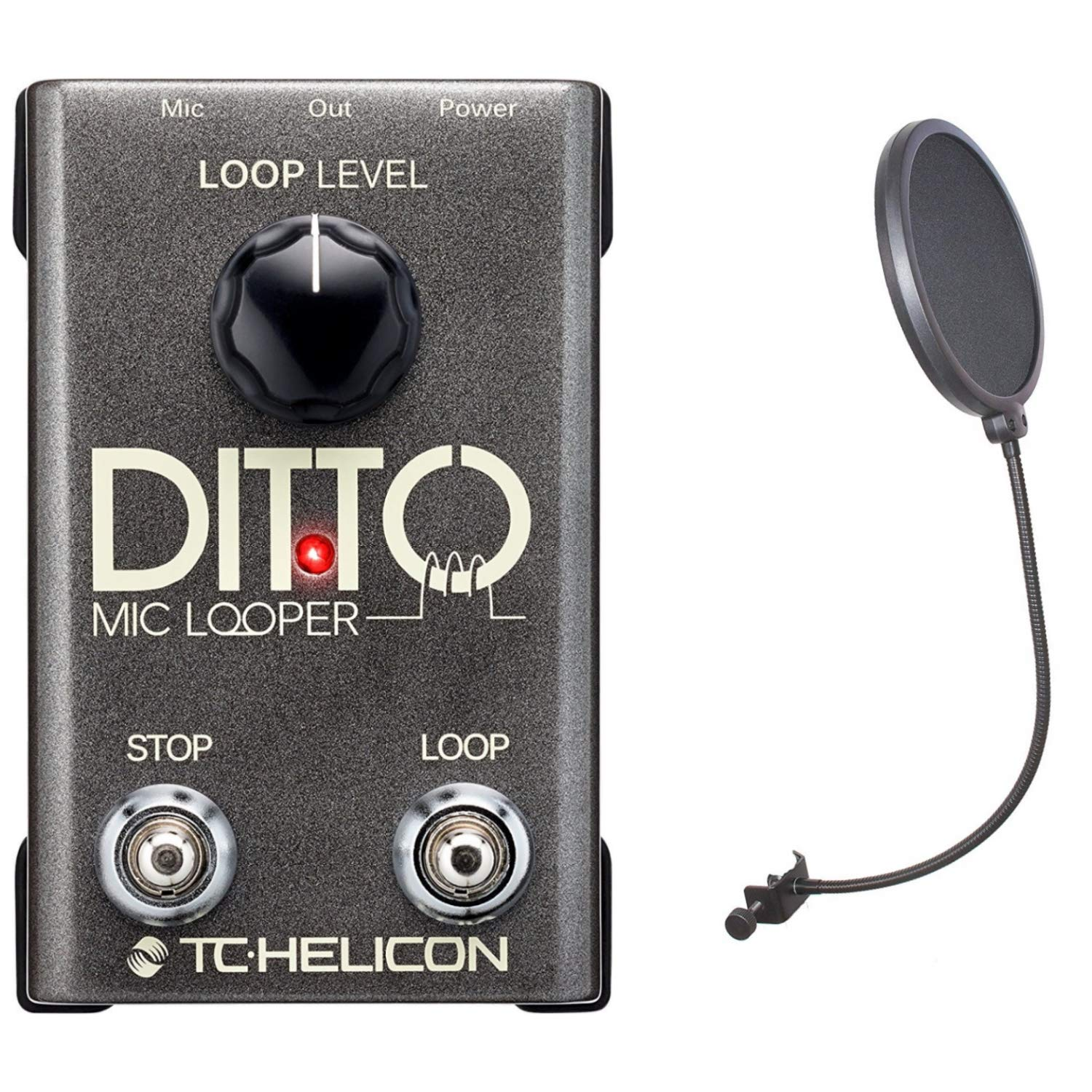 TC Helicon Ditto Mic Looper Pedal for Vocals with CAD Audio Pop Screen Filter
