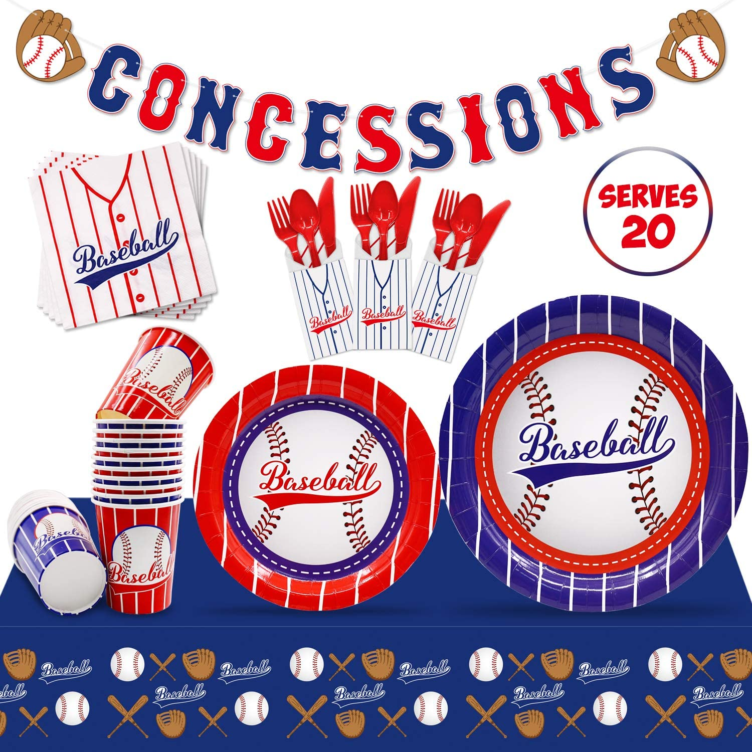 Baseball Party Supplies Set Serves 20 Guests Baseball Party Tableware Kit Concessions Banner Tablecloth Plates Cups Napkins for Sports Theme Birthday Party Decorations MLB Party Supplies