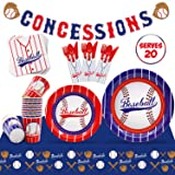 Baseball Party Supplies Set Serves 20 Guests Baseball Party Tableware Kit Concessions Banner Tablecloth Plates Cups…