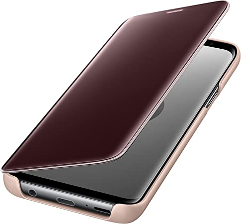 Oihxse Coque Compatible pour Samsung Galaxy S9 Cover Clear View Flip Translucide Standing 360/°Protection Ultra Mince Cuir PU Etui Anti-Rayures Antichoc Housse Bumper Argent