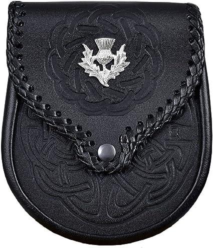 Details about  /Celtic Highlander Embossed Black Leather Scottish Kilt Bag Sporran /& Belt