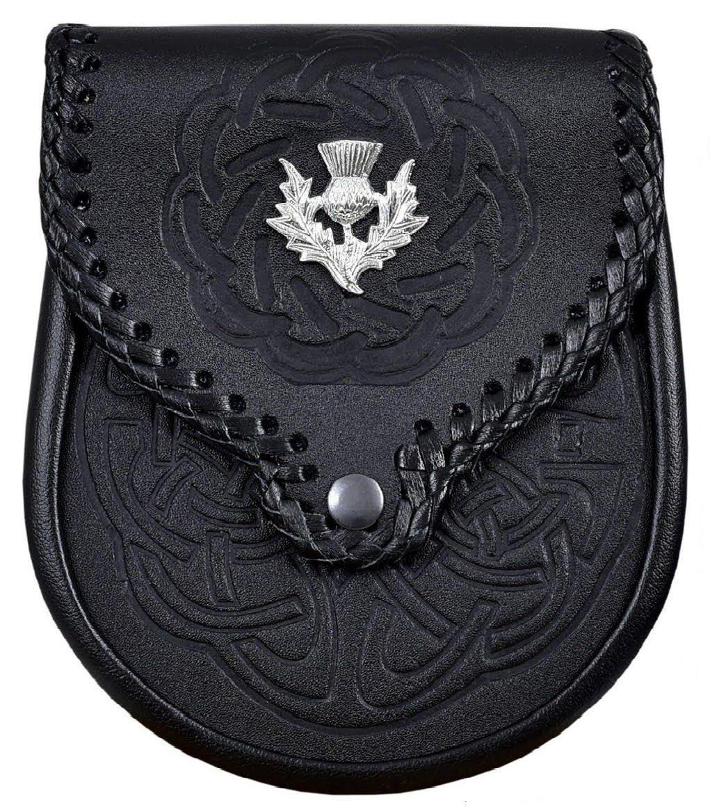 Double Embossed Scottish Black Leather Kilt Sporran w/Belt