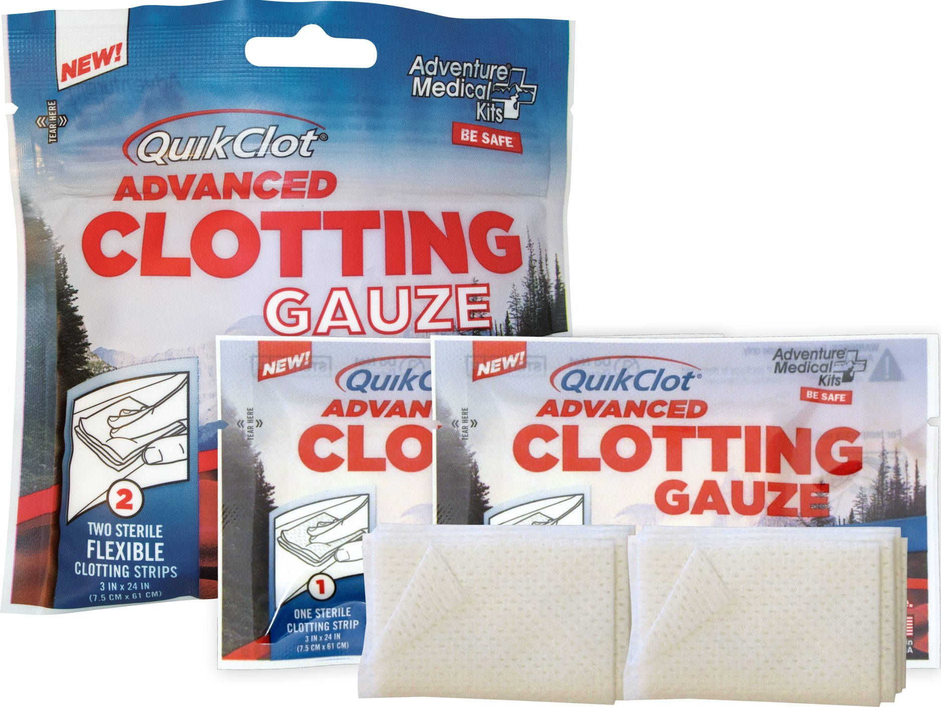 "QuikClot Advanced Clotting Gauze with Kaolin, Two 3"" x 24"" Gauze Strips – First Aid Hemostatic Gauze from Adventure Medical Kits, Quik Clot Combat Gauze, Blood Clotting Dressing, Stop Bleeding Fast"