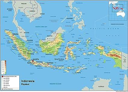 Indonesia Mapa mural de física – papel laminado A2 Size 42 x 59.4 ...
