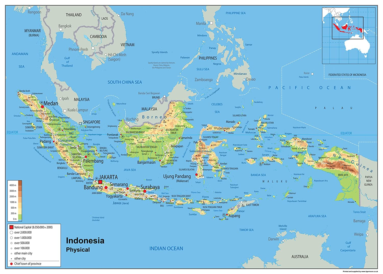 Indonesien Physikalische Planokarte/ /Papier laminiert A0 Size 84.1 x 118.9 cm