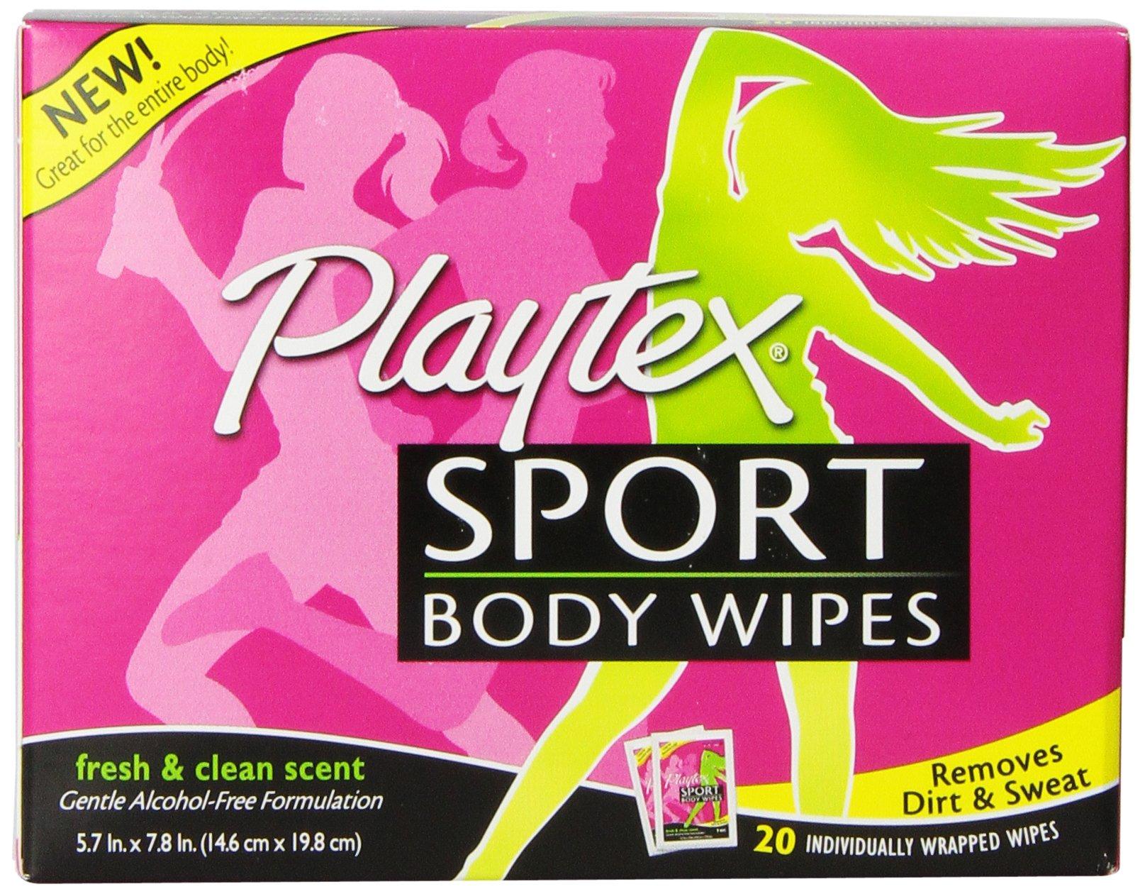 Playtex Sport Body Wipes Single Packs, 20-count (Pack of 5) by Playtex