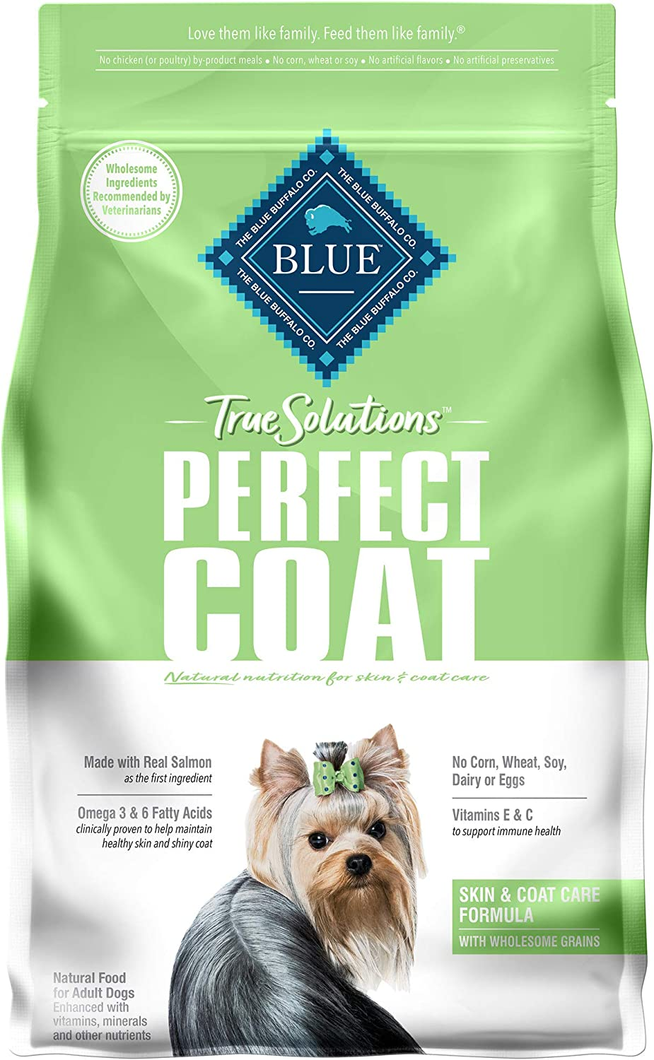 Blue Buffalo True Solutions Perfect Coat Natural Skin & Coat Care Adult Dry Dog Food and Wet Dog Food