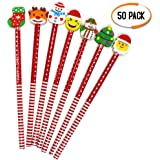 Christmas Themed Coloured Pencils with Erasers - Perfect for Party Bag Fillers - Party Favours