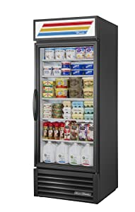 "True GDM-26-HC-LD Single Swing Glass Door Merchandiser Refrigerator with Hydrocarbon Refrigerant and LED Lighting, Holds 33 Degree F to 38 Degree F, 78.625"" Height, 29.875"" Width, 30"" Length"
