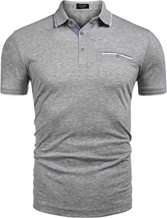 COOFANDY Men's Long Sleeve Polo Shirt Slim Fit Casual Business Cotton T Shirt