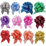 UNIQOOO 48PCS 12 Colors Assorted Gift Basket Gift Wrapping Pull Bows Large 6 Inch, For Birthday Mother's Day Anniversary Gift