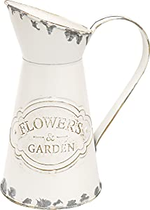 """MISIXILE Small Metal Vase for Flowers Shabby Chic Rustic Style Decorative Picther White Vase -8.7"""""""
