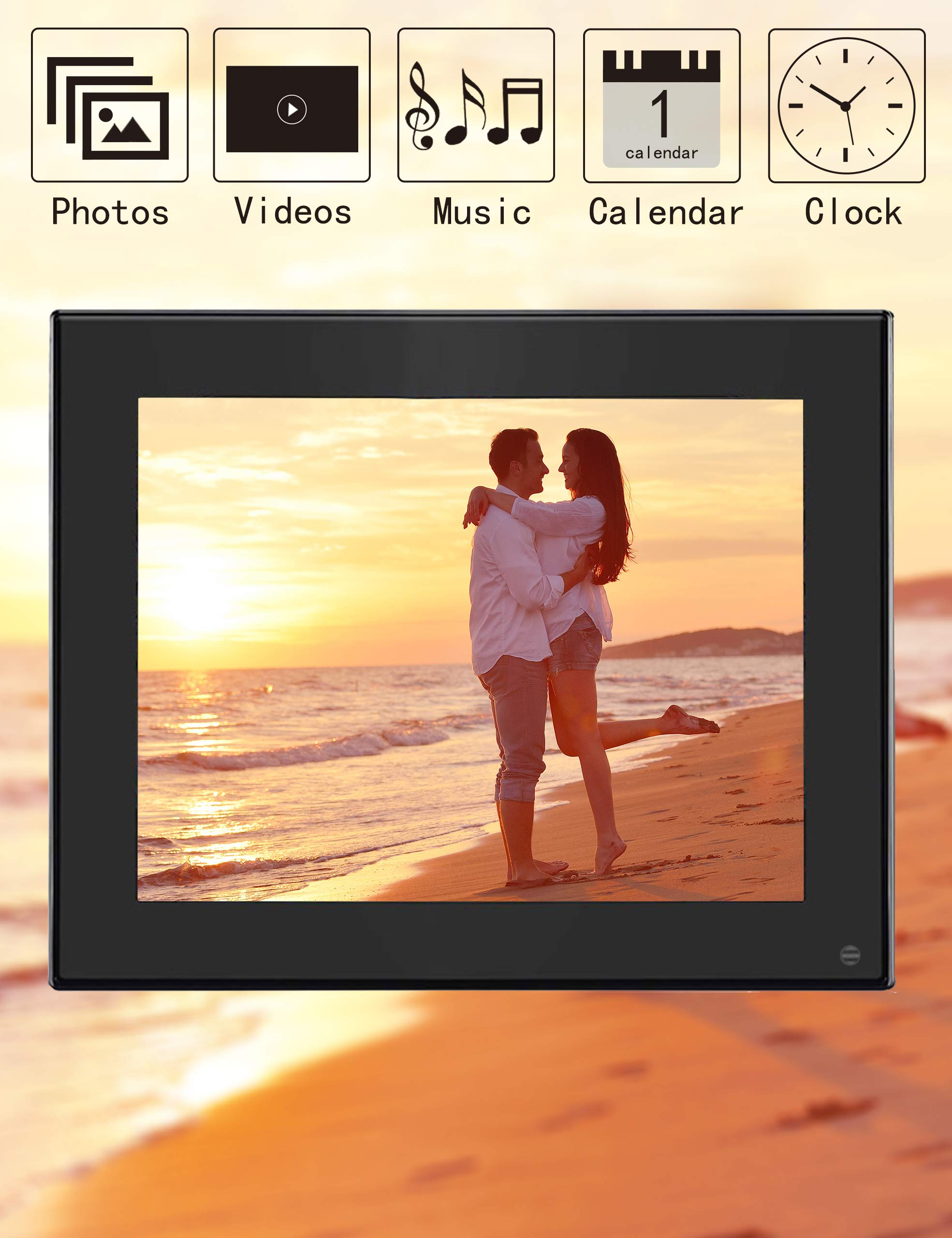 BSIMB Digital Photo Frame Digital Picture Frame 8 Inch 1024×768 Resolution Display with Calendar,Music,Video and USB,SD Card and Remote Control(M03 Black) by Bsimb (Image #3)