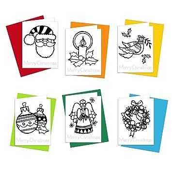 Color \'n\' deseos de Navidad niños tarjetas de felicitación de tinte ...